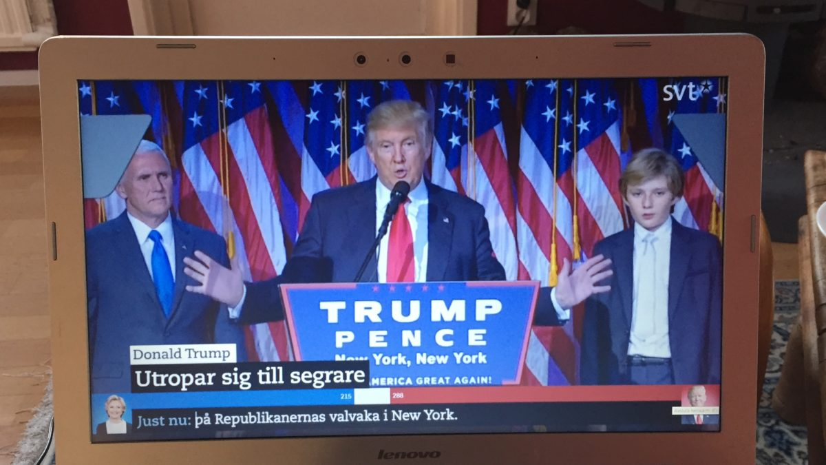 Donald Trump utropar seger på Republikanernas valvaka i New York