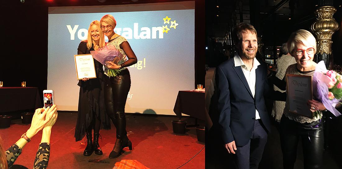 Ylva M Andersson tar emot priset för årets Yogi 2019